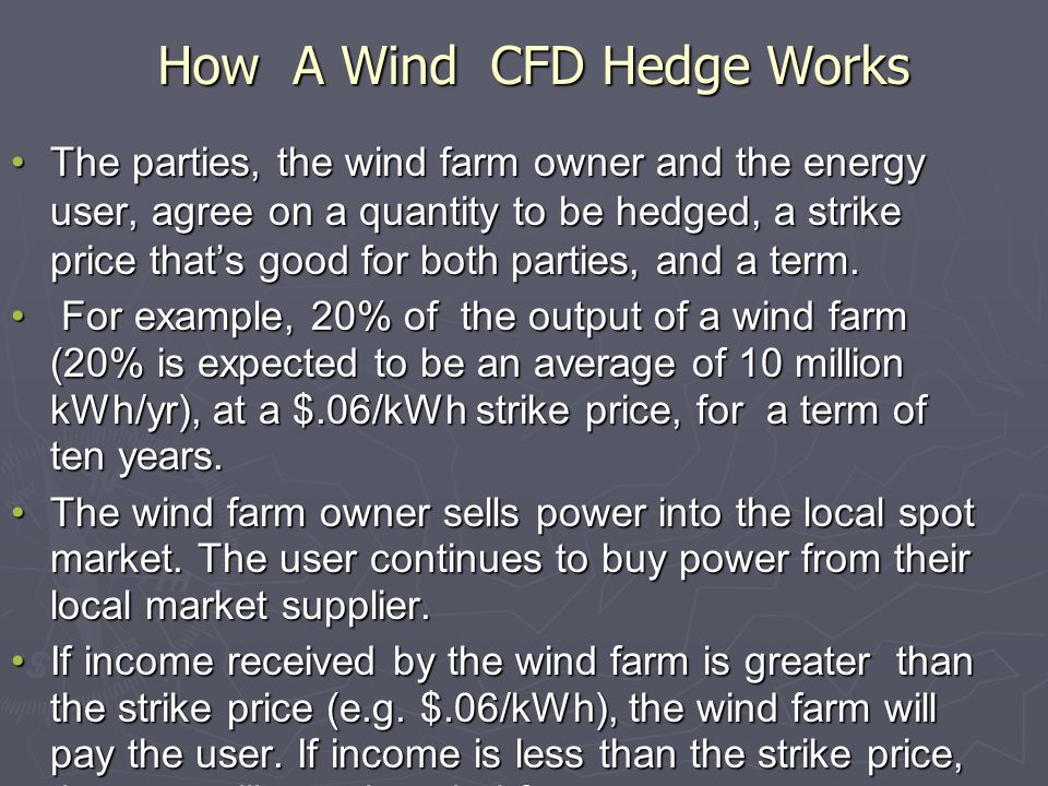 How A Wind CFD Hedge Works The parties, the wind farm owner and the energy user, agree on a quantity to be hedged, a strike price thats good for both parties, and a term.The parties, the wind farm owner and the energy user, agree on a quantity to be hedged, a strike price thats good for both parties, and a term.