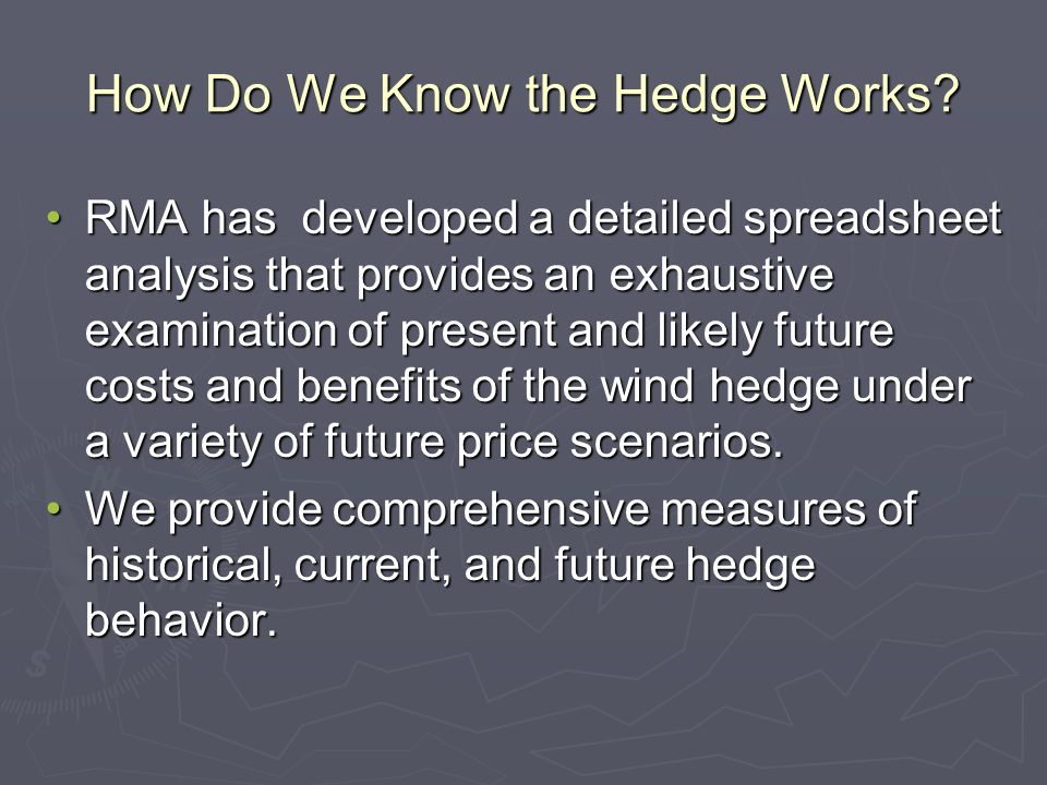 How Do We Know the Hedge Works.