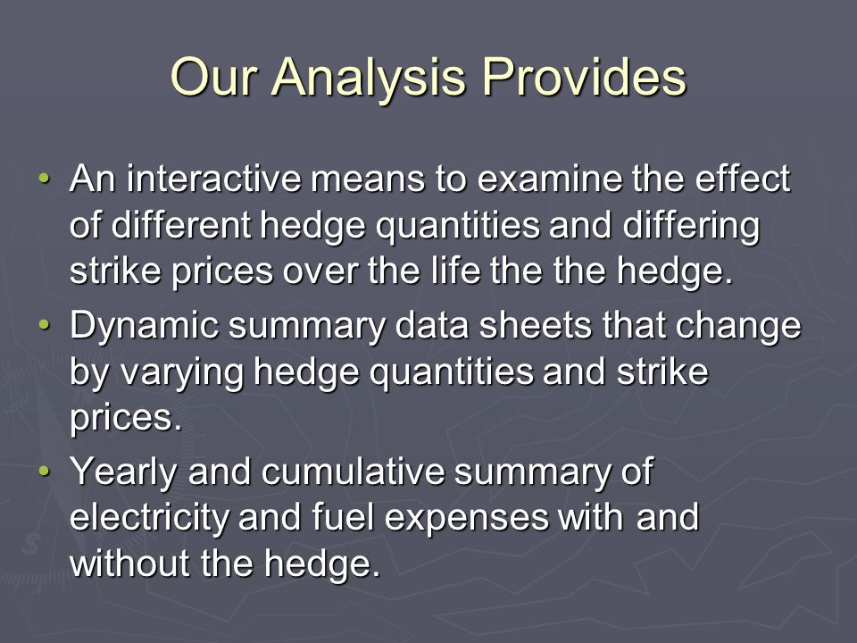 Our Analysis Provides An interactive means to examine the effect of different hedge quantities and differing strike prices over the life the the hedge.An interactive means to examine the effect of different hedge quantities and differing strike prices over the life the the hedge.