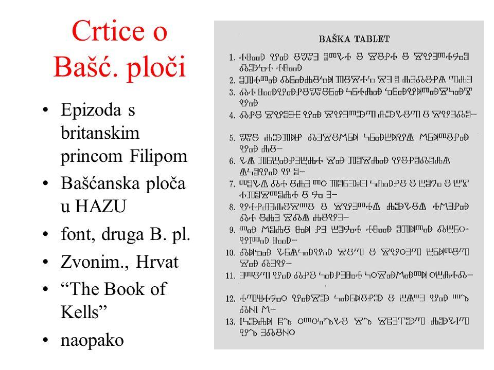 Crtice o Bašć. ploči Epizoda s britanskim princom Filipom Bašćanska ploča u HAZU font, druga B. pl. Zvonim., Hrvat The Book of Kells naopako