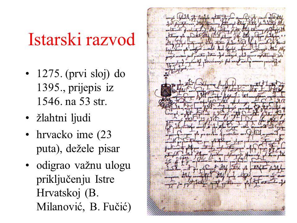 Istarski razvod 1275. (prvi sloj) do 1395., prijepis iz 1546. na 53 str. žlahtni ljudi hrvacko ime (23 puta), dežele pisar odigrao važnu ulogu priklju