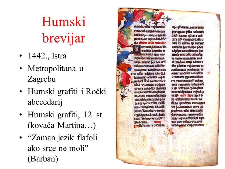 Humski brevijar 1442., Istra Metropolitana u Zagrebu Humski grafiti i Ročki abecedarij Humski grafiti, 12. st. (kovača Martina…) Zaman jezik flafoli a