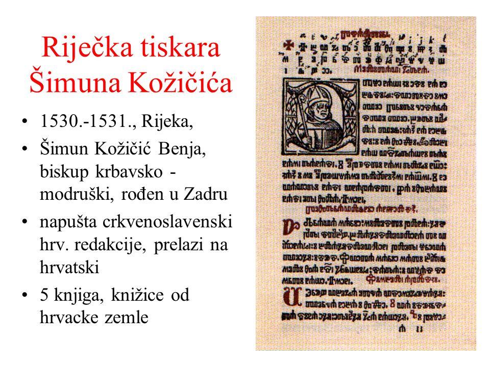 Riječka tiskara Šimuna Kožičića 1530.-1531., Rijeka, Šimun Kožičić Benja, biskup krbavsko - modruški, rođen u Zadru napušta crkvenoslavenski hrv. reda