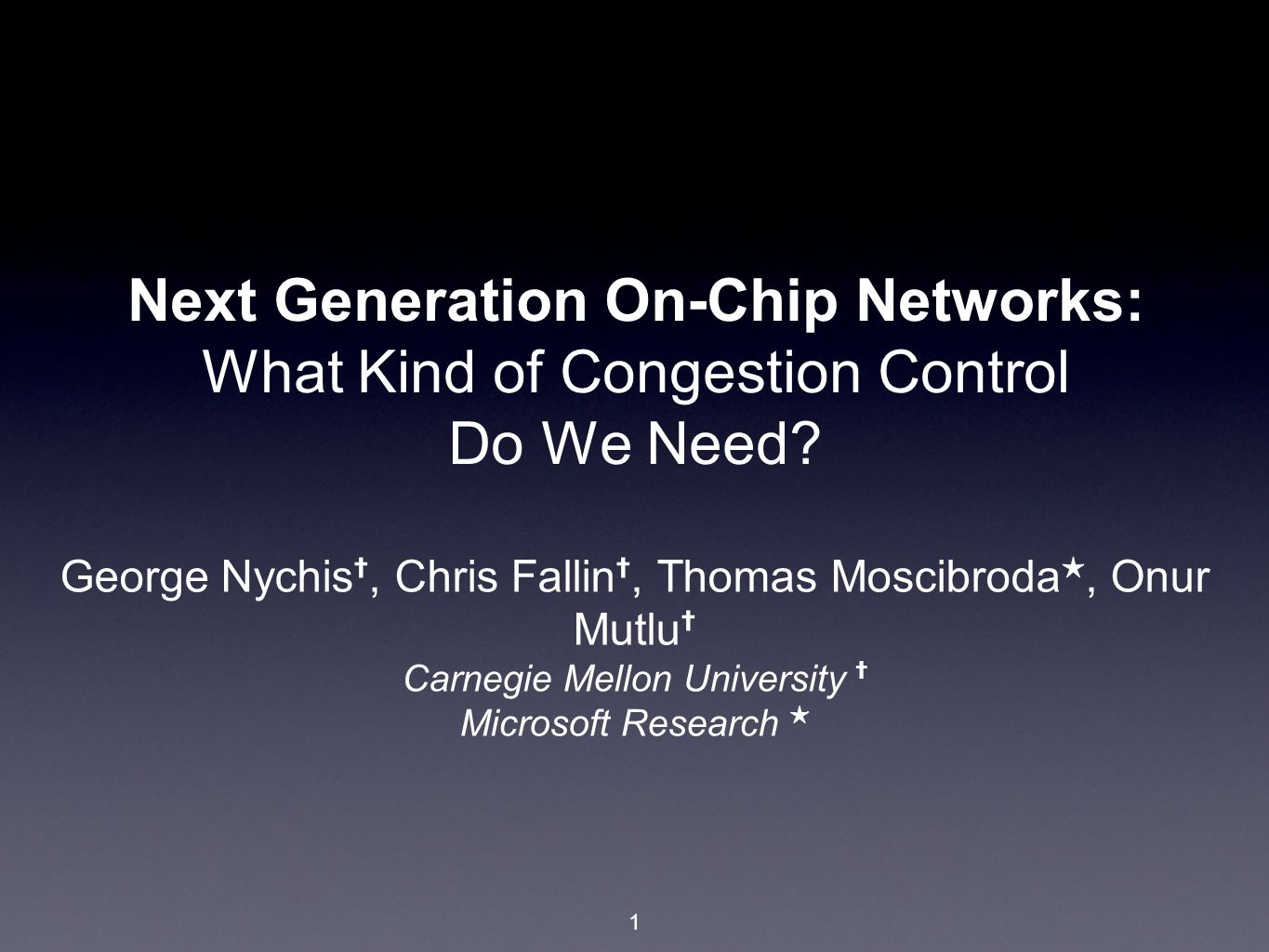 12 Outline Unique characteristics of the Network-on-Chip (NoC) likely requiring novel solutions to traditional problems Initial case study: congestion in a next generation NoC background on next generation bufferless design a study of congestion at network and application layers Novel application-aware congestion control mechanism