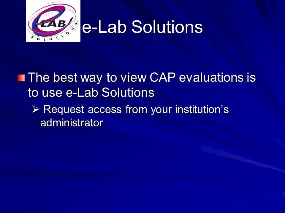 CAP Evaluations 101 Printed Evaluation Exception Codes Exception Codes Interactive Evaluation Participant Summary