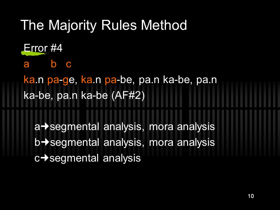 9 Experiment 1-Example of Ambiguous Errors TT#4 Pa.n ka-be (bread, wall) Error#4 a b c ka.n-pa-ge, ka.n-pa-be, pa.n-ka-be, pa.n-ka-be, pa.n-ka-be (AF#
