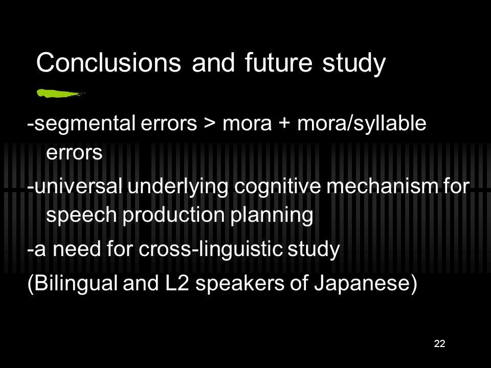21 Ratio between segmental errors vs mora+mora/syllable errors Token Analysis Segments Mora Mora/syll ratio Ex 1101 (70%)34 (24%)2.97:1 Ex 2149 (79%)3