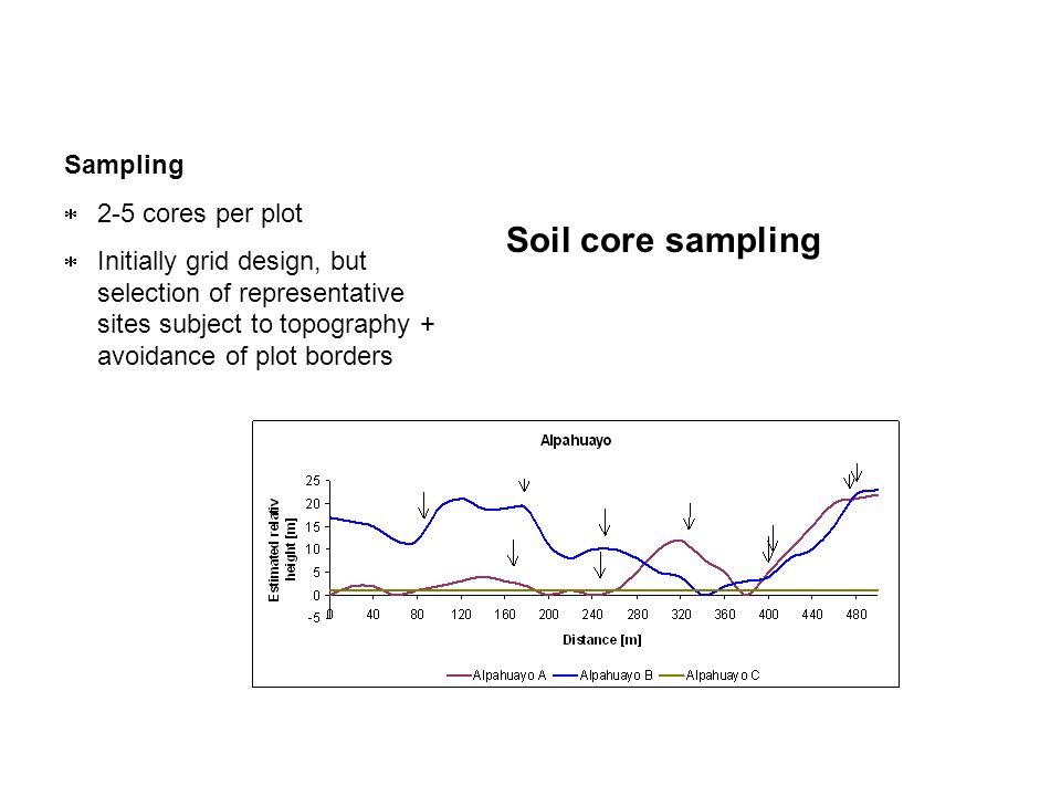 Sampling 2-5 cores per plot Initially grid design, but selection of representative sites subject to topography + avoidance of plot borders Soil core s