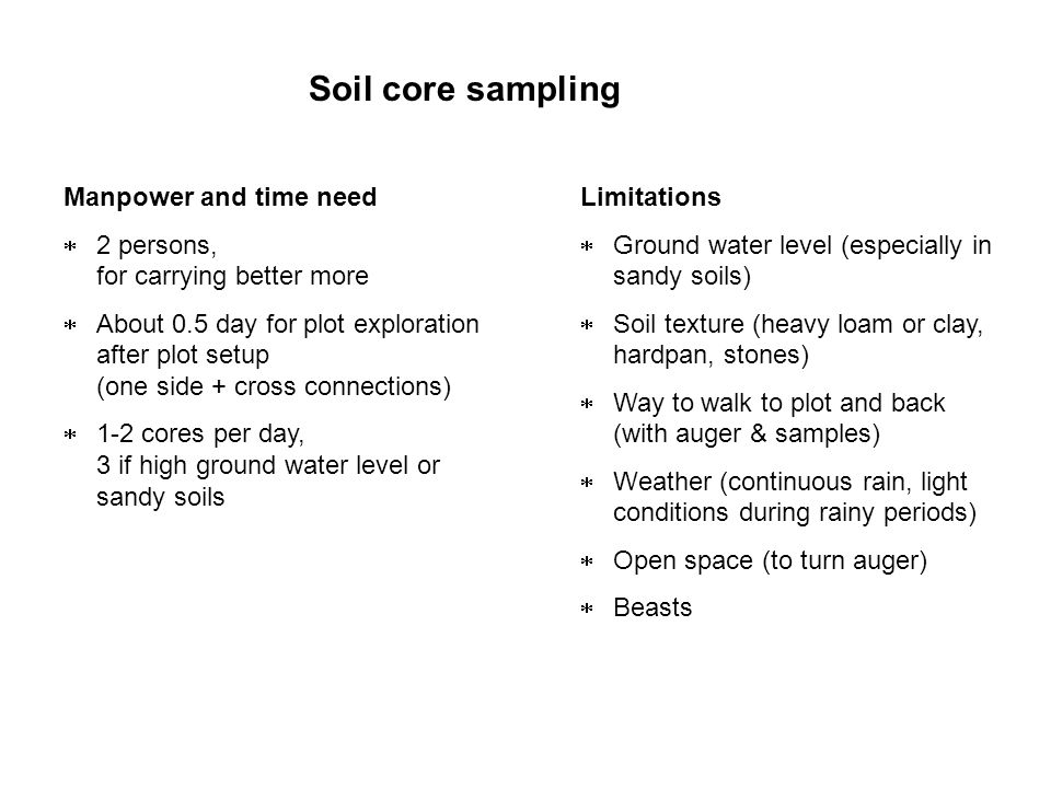 Soil core sampling Limitations Ground water level (especially in sandy soils) Soil texture (heavy loam or clay, hardpan, stones) Way to walk to plot a