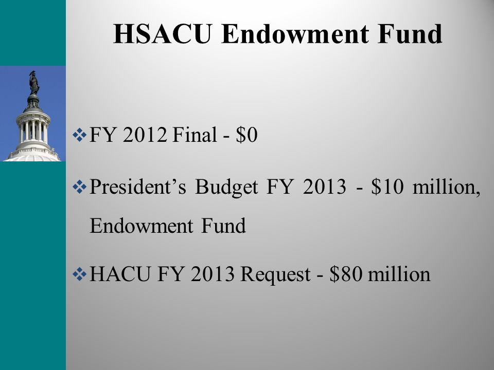 HSACU Endowment Fund FY 2012 Final - $0 Presidents Budget FY 2013 - $10 million, Endowment Fund HACU FY 2013 Request - $80 million