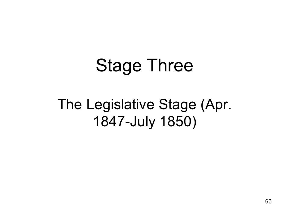63 Stage Three The Legislative Stage (Apr. 1847-July 1850)