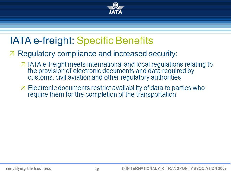 19 Simplifying the Business INTERNATIONAL AIR TRANSPORT ASSOCIATION 2009 Regulatory compliance and increased security: IATA e-freight meets internatio