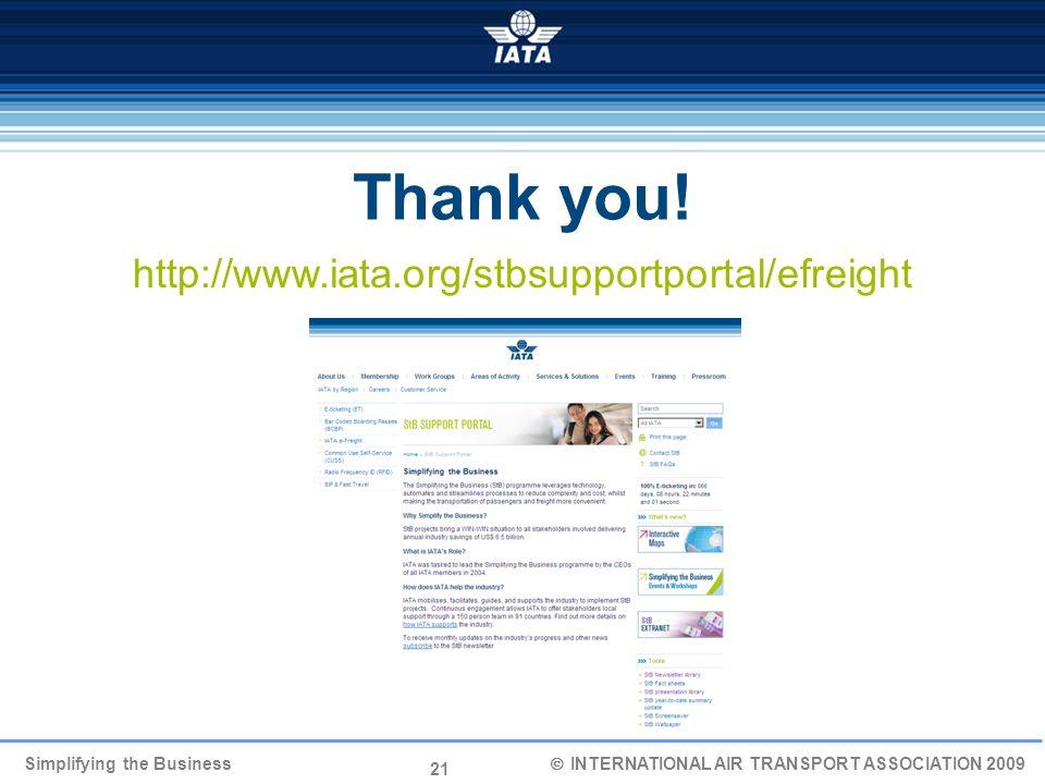 21 Simplifying the Business INTERNATIONAL AIR TRANSPORT ASSOCIATION 2009 http://www.iata.org/stbsupportportal/efreight Thank you!