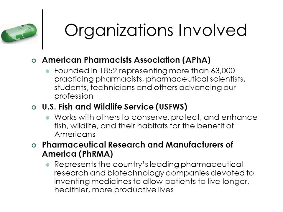 Organizations Involved American Pharmacists Association (APhA) Founded in 1852 representing more than 63,000 practicing pharmacists, pharmaceutical sc