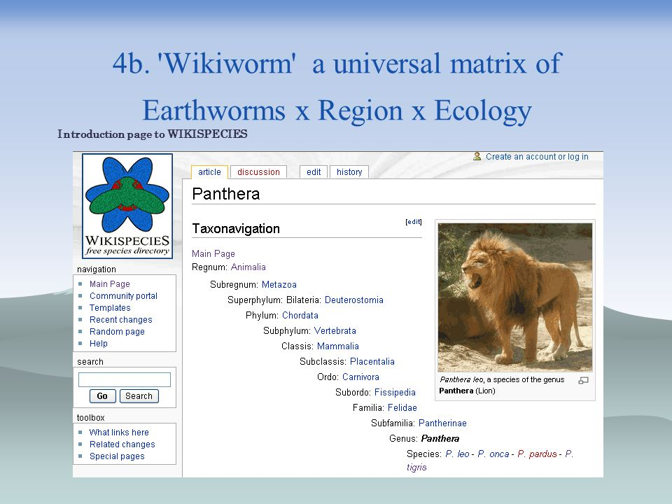 4b. 'Wikiworm' a universal matrix of Earthworms x Region x Ecology Introduction page to WIKISPECIES
