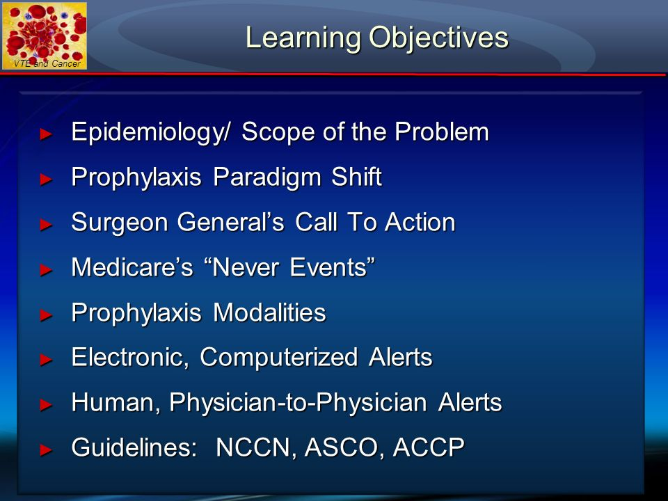 VTE and Cancer Learning Objectives Epidemiology/ Scope of the Problem Epidemiology/ Scope of the Problem Prophylaxis Paradigm Shift Prophylaxis Paradi