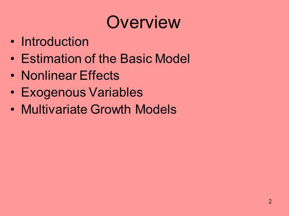 2 Overview Introduction Estimation of the Basic Model Nonlinear Effects Exogenous Variables Multivariate Growth Models