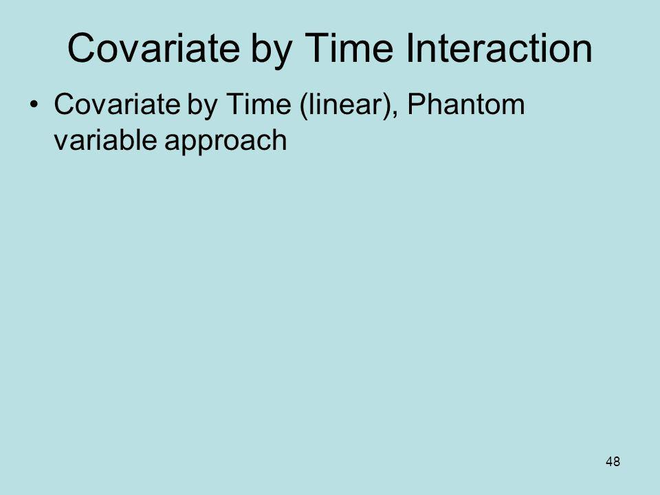 48 Covariate by Time Interaction Covariate by Time (linear), Phantom variable approach