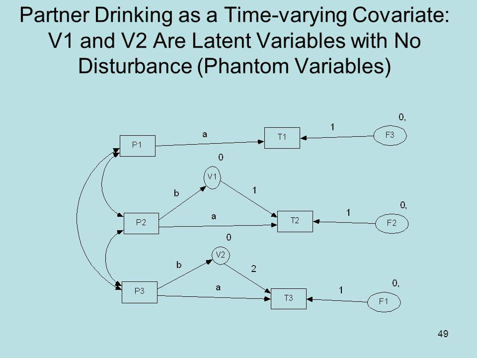 49 Partner Drinking as a Time-varying Covariate: V1 and V2 Are Latent Variables with No Disturbance (Phantom Variables)