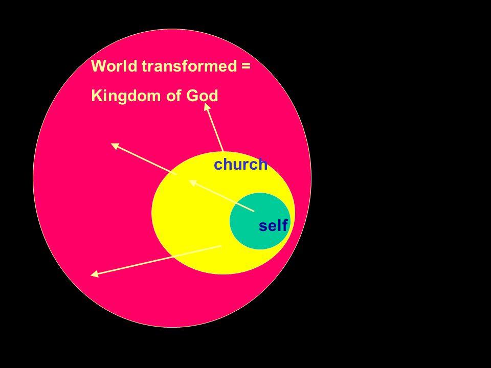 self church World transformed = Kingdom of God
