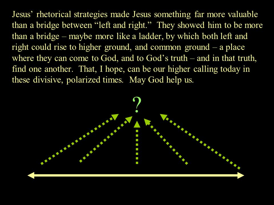 Jesus rhetorical strategies made Jesus something far more valuable than a bridge between left and right. They showed him to be more than a bridge – ma