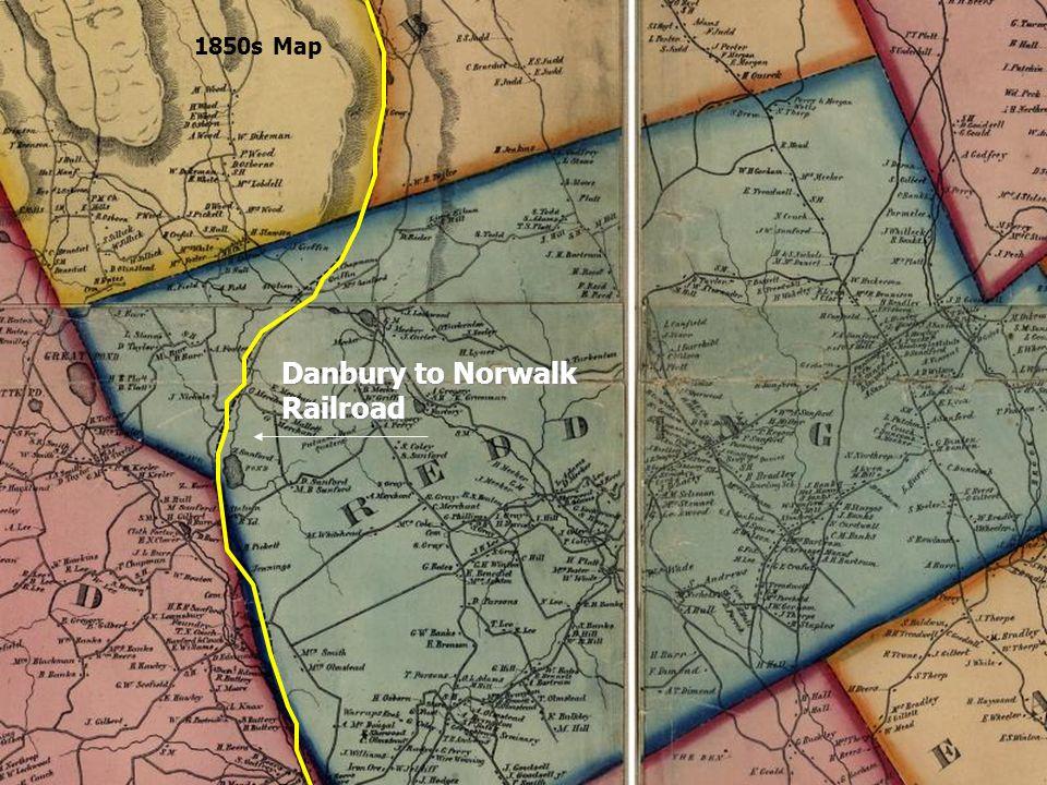 Danbury to Norwalk Railroad 1850s Map