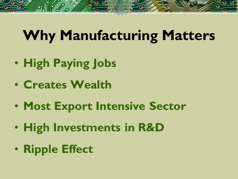 Why Manufacturing Matters High Paying Jobs Creates Wealth Most Export Intensive Sector High Investments in R&D Ripple Effect