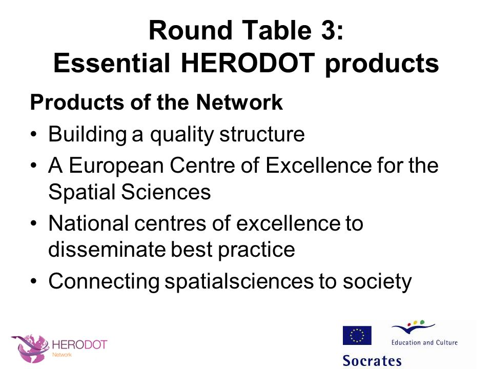 Round Table 3: Essential HERODOT products Products of the Network Building a quality structure A European Centre of Excellence for the Spatial Science