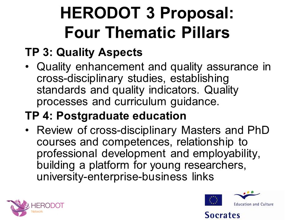 Round Table 3: Likely HERODOT 3 Activities Activities form the workplan of the Pillars Guiding student research In-Service training Update state-of-the-art Innovative learning How well does curricula match benchmarks.