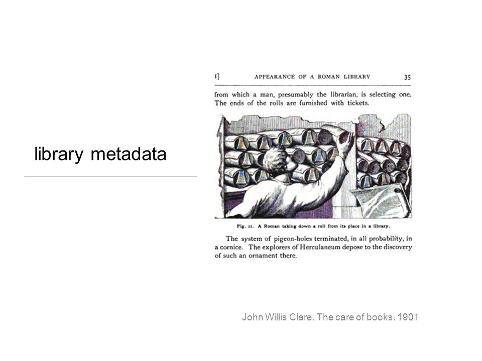 library metadata John Willis Clare. The care of books. 1901