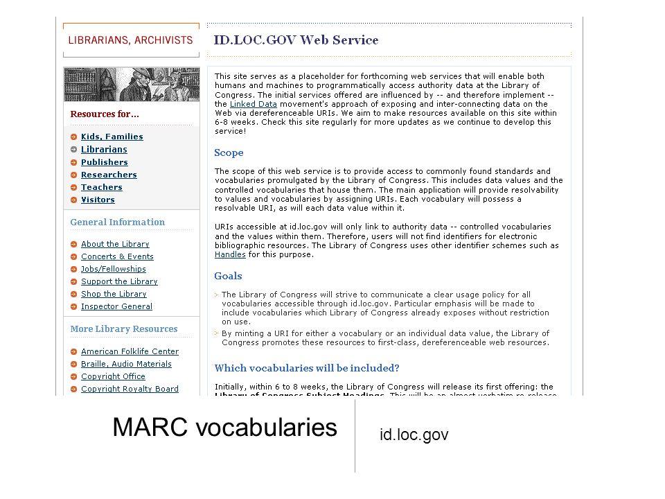 MARC vocabularies id.loc.gov