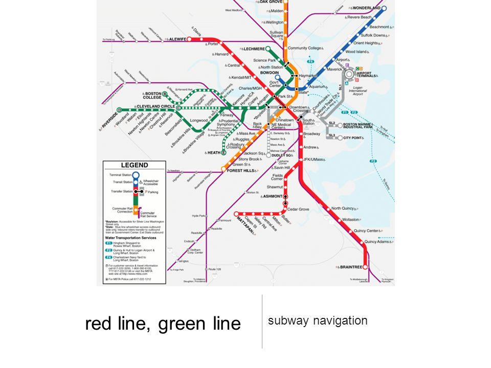 red line, green line subway navigation
