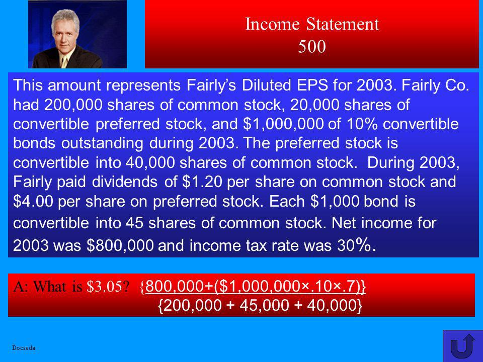 Income Statement 400 A: What is $14,000 [70000–((70000×20)÷25)] ? Using treasury stock method for computing Edsons Diluted EPS, this amount represents