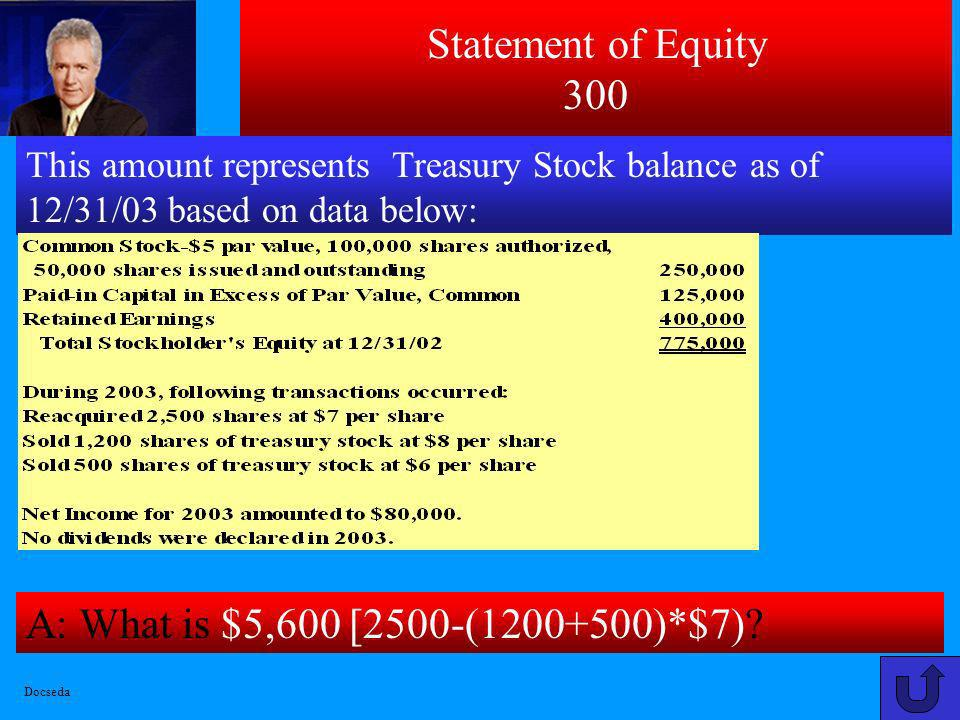 Statement of Equity 200 A: What is $375,700 [250,000+125,000+700] ? [700=1200*(8-7(cost)) + 500*(6-7(cost))] This amount represents Total Contributed