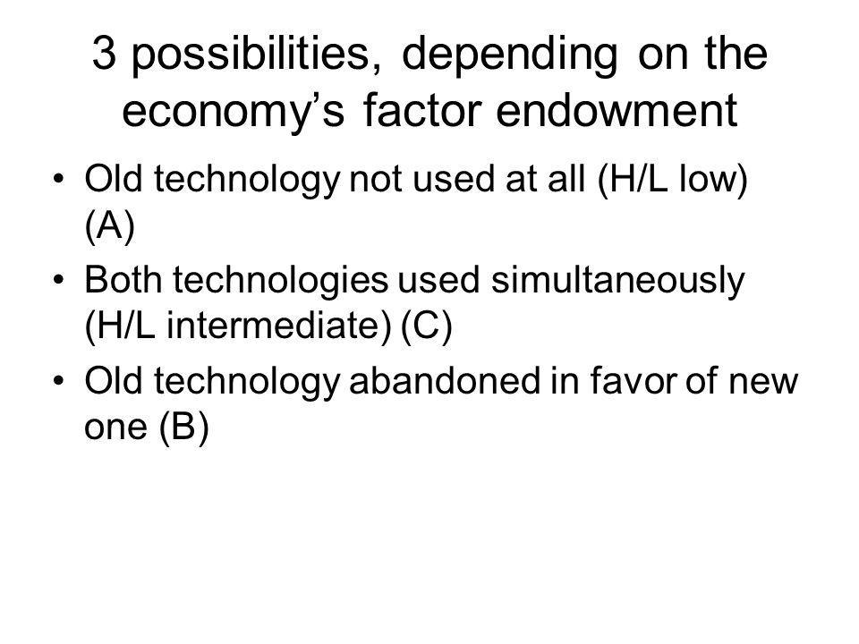 3 possibilities, depending on the economys factor endowment Old technology not used at all (H/L low) (A) Both technologies used simultaneously (H/L in
