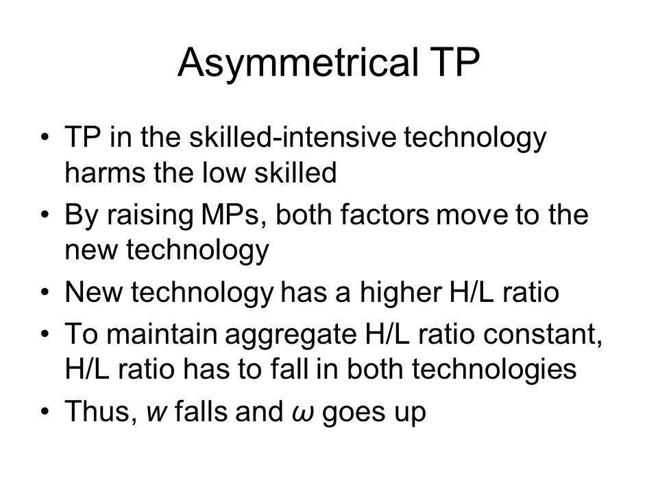 Asymmetrical TP TP in the skilled-intensive technology harms the low skilled By raising MPs, both factors move to the new technology New technology ha