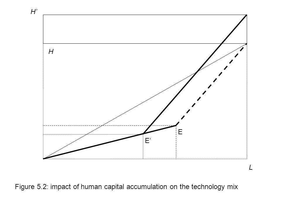 L H E Figure 5.2: impact of human capital accumulation on the technology mix E H