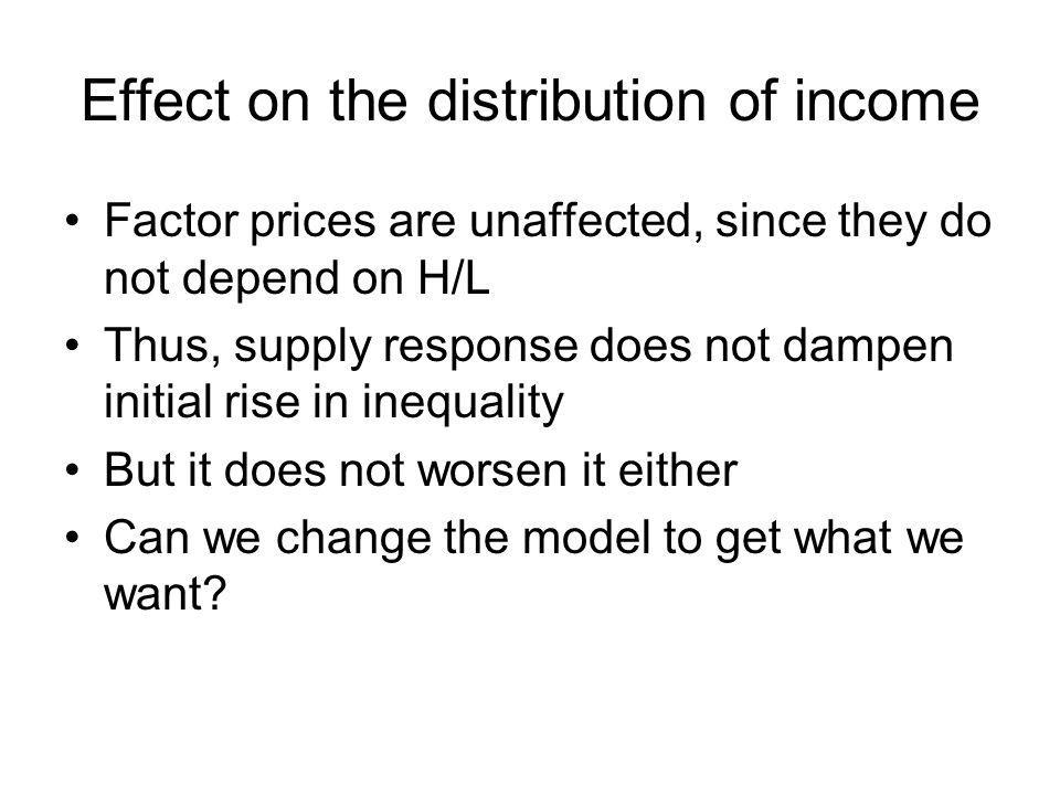Effect on the distribution of income Factor prices are unaffected, since they do not depend on H/L Thus, supply response does not dampen initial rise