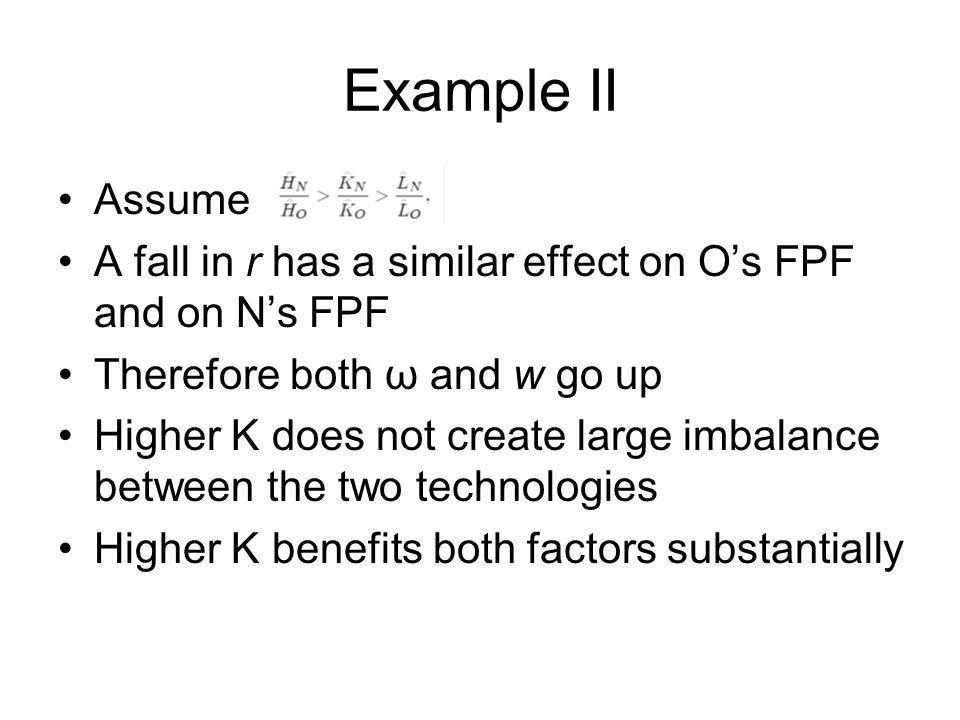 Example II Assume A fall in r has a similar effect on Os FPF and on Ns FPF Therefore both ω and w go up Higher K does not create large imbalance betwe