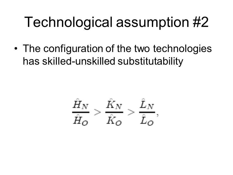 Technological assumption #2 The configuration of the two technologies has skilled-unskilled substitutability