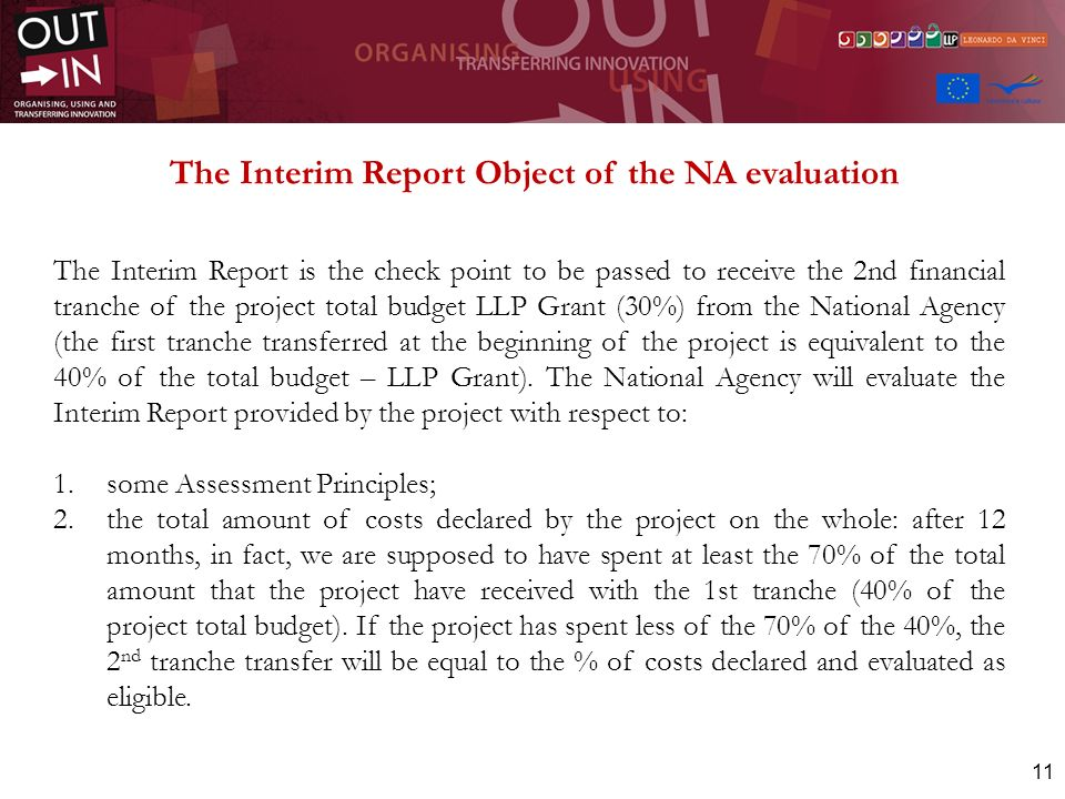 11 The Interim Report Object of the NA evaluation The Interim Report is the check point to be passed to receive the 2nd financial tranche of the proje