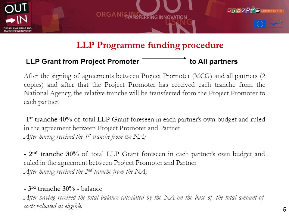 6 On the bases of LLP Programme rules, all projects are requested to submit to the National Agency in Charge for Technical Assistance and Monitoring two main Financial Reports that include also the Activities report and the presentation of related outcomes and outputs: - The Interim Report (after 12 months) - The Final Report (at the end of the project)
