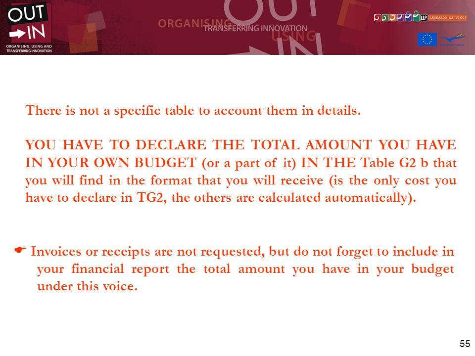 55 There is not a specific table to account them in details. YOU HAVE TO DECLARE THE TOTAL AMOUNT YOU HAVE IN YOUR OWN BUDGET (or a part of it) IN THE