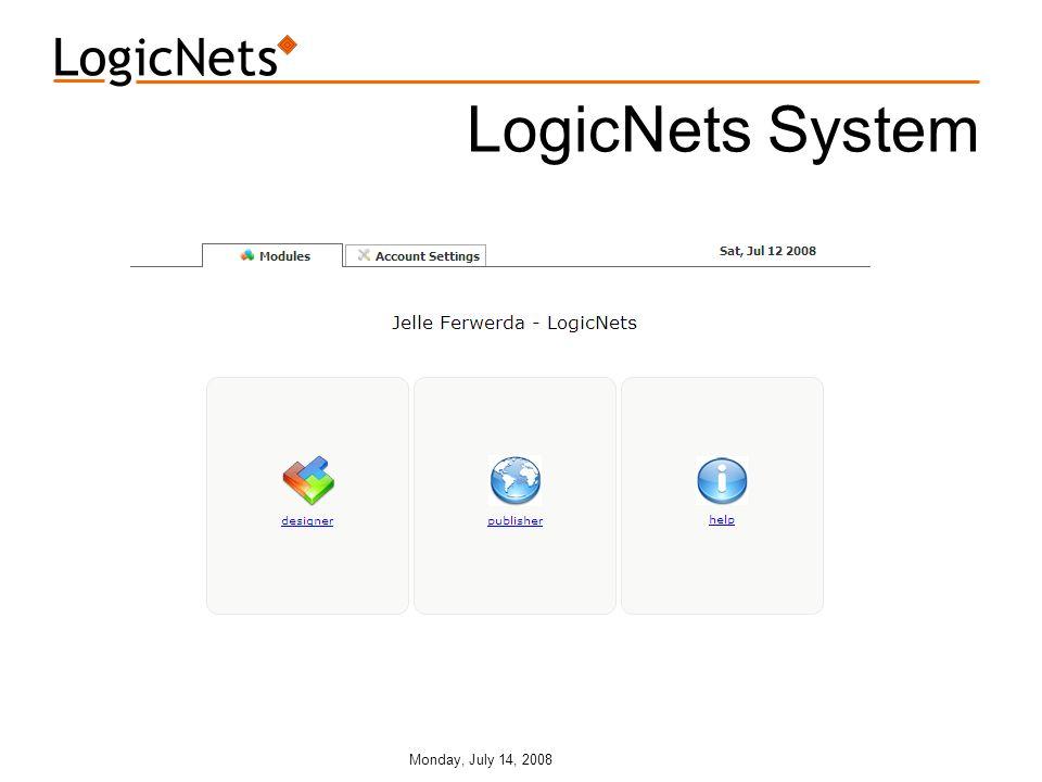 Monday, July 14, 2008 LogicNets System