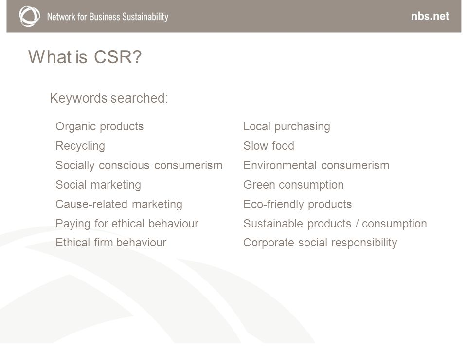 What is CSR? Organic productsLocal purchasing RecyclingSlow food Socially conscious consumerismEnvironmental consumerism Social marketingGreen consump