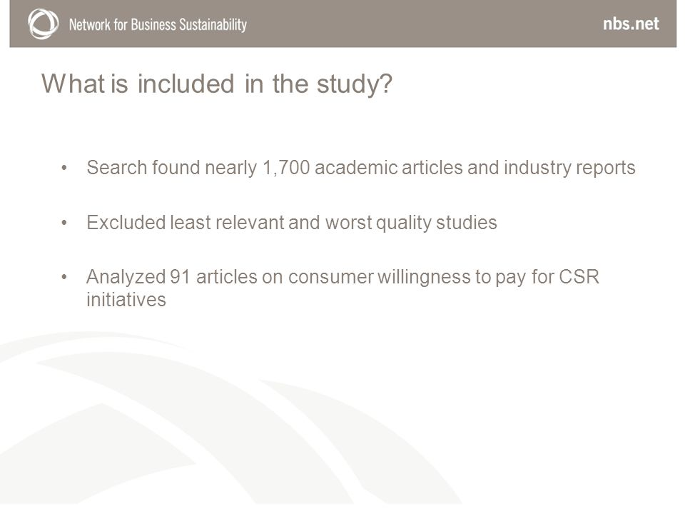 What is included in the study? Search found nearly 1,700 academic articles and industry reports Excluded least relevant and worst quality studies Anal