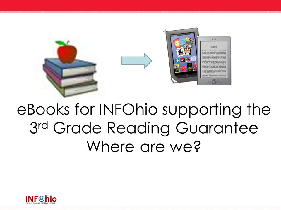 eBooks for INFOhio supporting the 3 rd Grade Reading Guarantee Where are we?