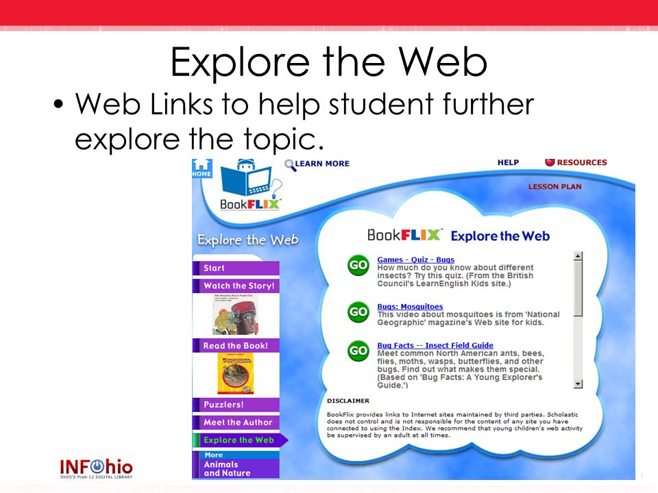 Explore the Web Web Links to help student further explore the topic.
