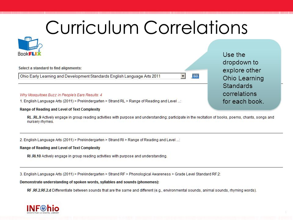 Curriculum Correlations Use the dropdown to explore other Ohio Learning Standards correlations for each book.