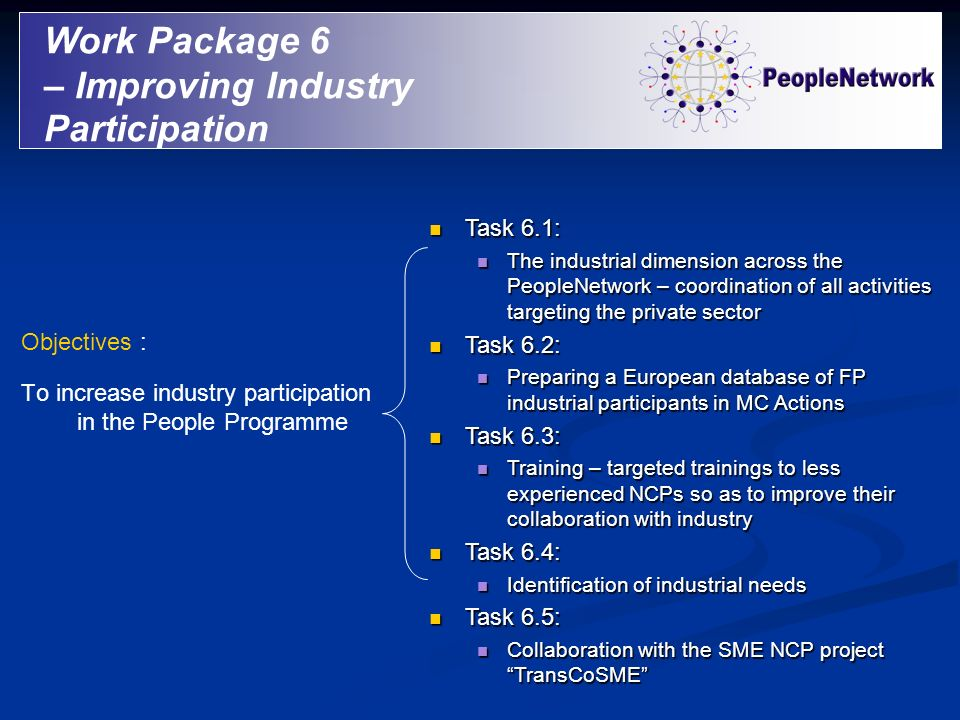 Work Package 6 – Improving Industry Participation Objectives : To increase industry participation in the People Programme Task 6.1: Task 6.1: The indu